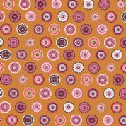 Inprint Folk - 4044 - Stylised Lace Circles - Rust - 8947 N38 - Cotton Fabric